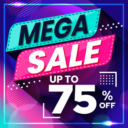 Vector graphic of Abstract Colorful Mega Sale 75 Percent Banner Background. Perfect for Retail, Brochure, Banner, Business, Selling, etc Ilustração