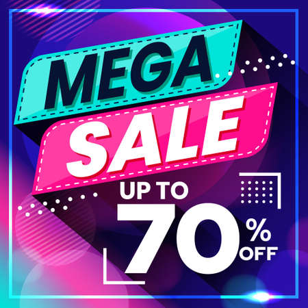Vector graphic of Abstract Colorful Mega Sale 70 Percent Banner Background. Perfect for Retail, Brochure, Banner, Business, Selling, etc