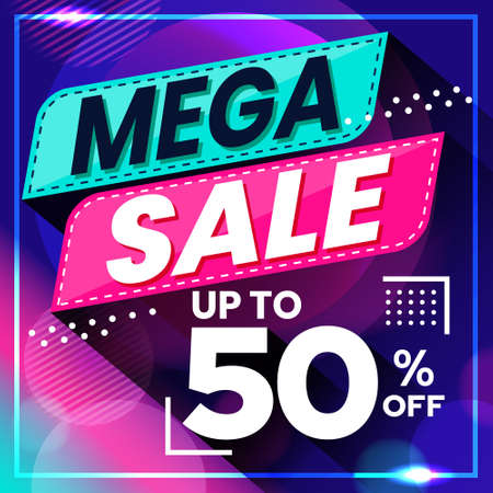 Vector graphic of Abstract Colorful Mega Sale 50 Percent Banner Background. Perfect for Retail, Brochure, Banner, Business, Selling, etc
