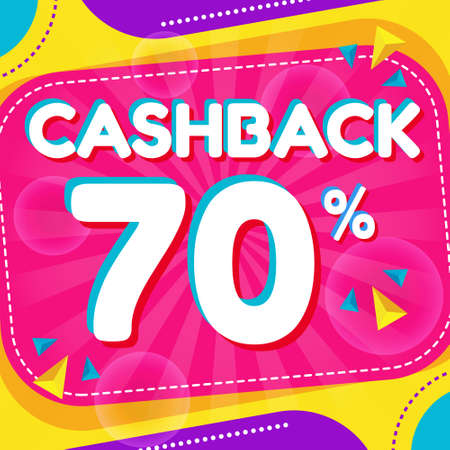 Vector graphic of Abstract Colorful Cash Back 70 Percent Banner Background. Perfect for Retail, Brochure, Banner, Business, Selling, etc