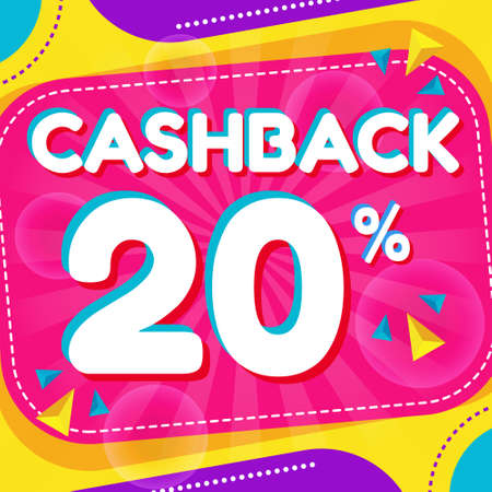 Vector graphic of Abstract Colorful Cash Back 20 Percent Banner Background. Perfect for Retail, Brochure, Banner, Business, Selling, etc Ilustração
