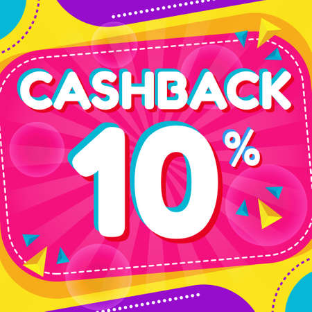 Vector graphic of Abstract Colorful Cash Back 10 Percent Banner Background. Perfect for Retail, Brochure, Banner, Business, Selling, etc