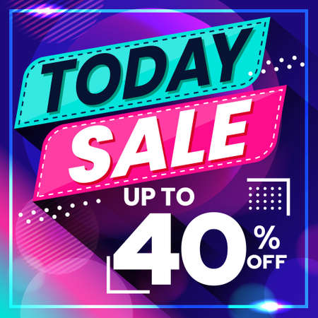 Vector graphic of Abstract Colorful Today Sale 40 Percent Banner Background. Perfect for Retail, Brochure, Banner, Business, Selling, etc
