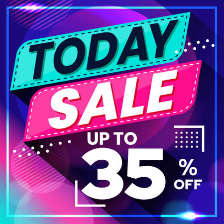 Vector graphic of Abstract Colorful Today Sale 35 Percent Banner Background. Perfect for Retail, Brochure, Banner, Business, Selling, etc Ilustração