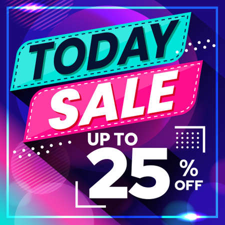 Vector graphic of Abstract Colorful Today Sale 25 Percent Banner Background. Perfect for Retail, Brochure, Banner, Business, Selling, etc