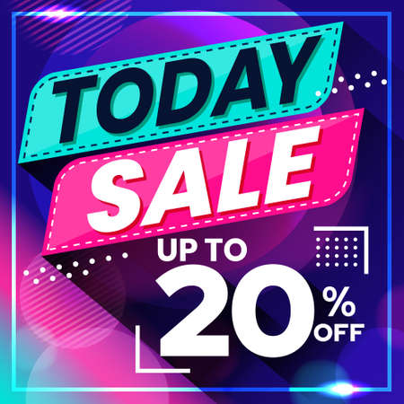 Vector graphic of Abstract Colorful Today Sale 20 Percent Banner Background. Perfect for Retail, Brochure, Banner, Business, Selling, etc