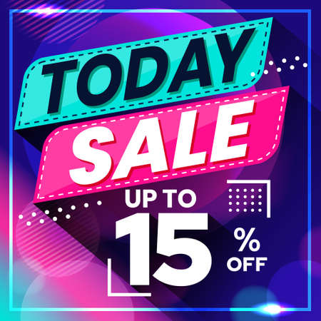 Vector graphic of Abstract Colorful Today Sale 15 Percent Banner Background. Perfect for Retail, Brochure, Banner, Business, Selling, etc Ilustração