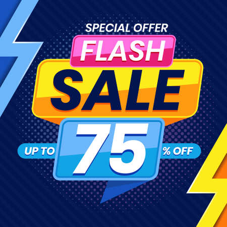 Vector graphic of Modern Colorful Flash Sale 75 Percent Advertising Banner Background. Perfect for Retail, Brochure, Banner, Business, Selling, etc Ilustração