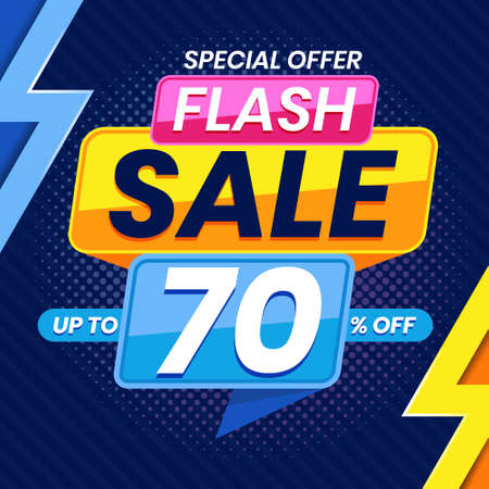 Vector graphic of Modern Colorful Flash Sale 70 Percent Advertising Banner Background. Perfect for Retail, Brochure, Banner, Business, Selling, etc Ilustração