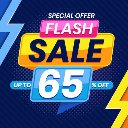 Vector graphic of Modern Colorful Flash Sale 65 Percent Advertising Banner Background. Perfect for Retail, Brochure, Banner, Business, Selling, etc