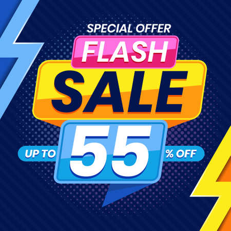 Vector graphic of Modern Colorful Flash Sale 55 Percent Advertising Banner Background. Perfect for Retail, Brochure, Banner, Business, Selling, etc