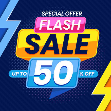Vector graphic of Modern Colorful Flash Sale 50 Percent Advertising Banner Background. Perfect for Retail, Brochure, Banner, Business, Selling, etc