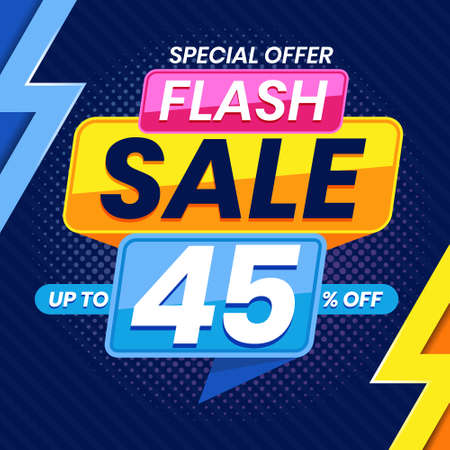 Vector graphic of Modern Colorful Flash Sale 45 Percent Advertising Banner Background. Perfect for Retail, Brochure, Banner, Business, Selling, etc