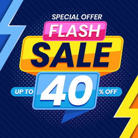 Vector graphic of Modern Colorful Flash Sale 40 Percent Advertising Banner Background. Perfect for Retail, Brochure, Banner, Business, Selling, etc