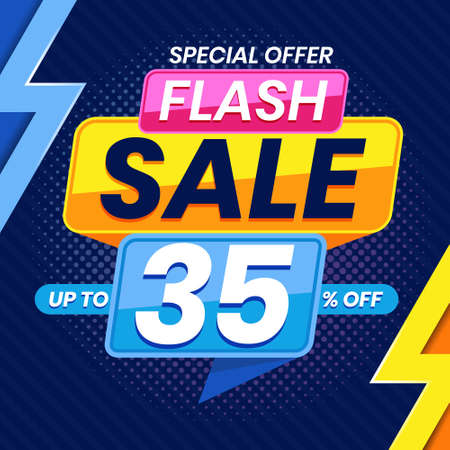 Vector graphic of Modern Colorful Flash Sale 35 Percent Advertising Banner Background. Perfect for Retail, Brochure, Banner, Business, Selling, etc Ilustração