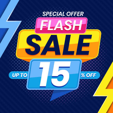 Vector graphic of Modern Colorful Flash Sale 15 Percent Advertising Banner Background. Perfect for Retail, Brochure, Banner, Business, Selling, etc
