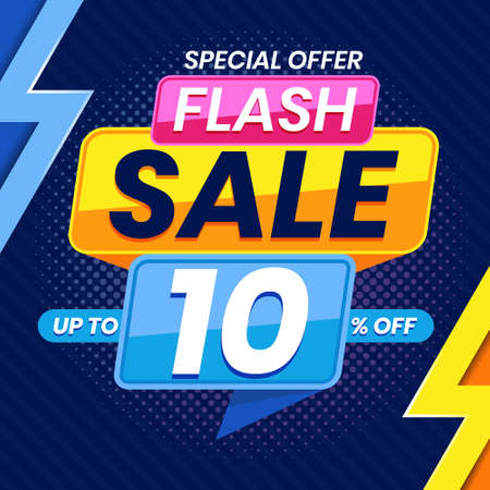 Vector graphic of Modern Colorful Flash Sale 10 Percent Advertising Banner Background. Perfect for Retail, Brochure, Banner, Business, Selling, etc Ilustração