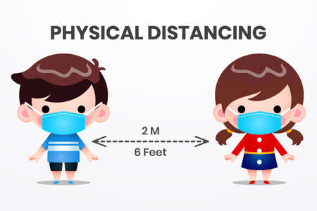Illustration vector graphic Physical Distancing, Social Distancing Kids. Boy and Girl Character Wearing Medical Mask illustration fight COVID-19. Perfect for Medical brochure, Television health inform