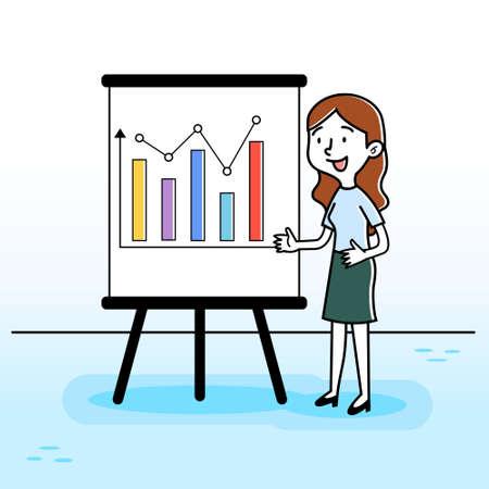 Illustration vector graphic of Business Woman Presentation Vector. Perfect for business website, education, school, course, brochure, social media illustration, etc Ilustração