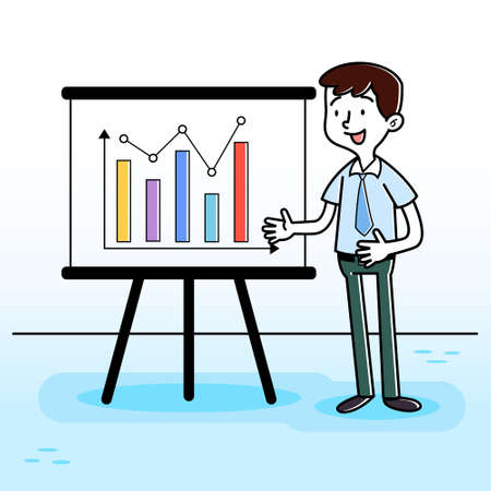 Illustration vector graphic of Businessman Presentation Vector. Perfect for business website, education, school, course, brochure, social media illustration, etc