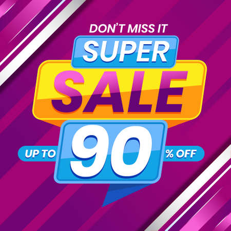 Vector graphic of Modern Colorful Super Sale 90 Percent Advertising Banner Background. Perfect for Retail, Brochure, Banner, Business, Selling, etc