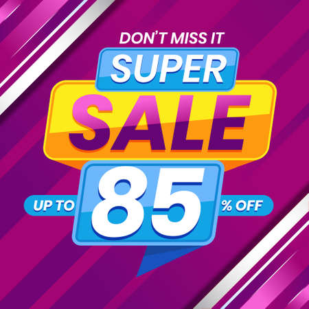 Vector graphic of Modern Colorful Super Sale 85 Percent Advertising Banner