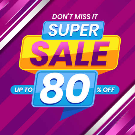Vector graphic of Modern Colorful Super Sale 80 Percent Advertising Banner Background. Perfect for Retail, Brochure, Banner, Business, Selling, etc