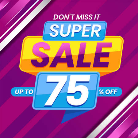 Vector graphic of Modern Colorful Super Sale 75 Percent Advertising Banner Background. Perfect for Retail, Brochure, Banner, Business, Selling, etc