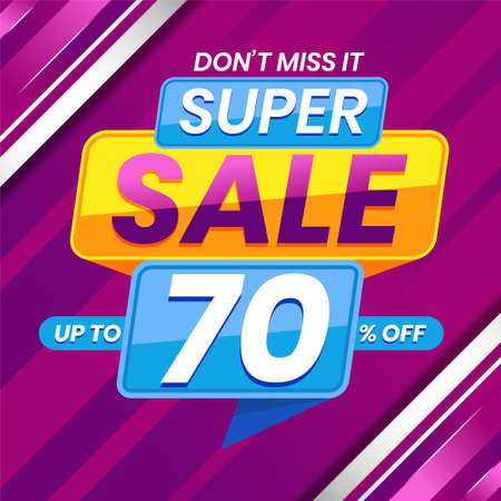 Vector graphic of Modern Colorful Super Sale 70 Percent Advertising Banner Background. Perfect for Retail, Brochure, Banner, Business, Selling, etc Ilustração