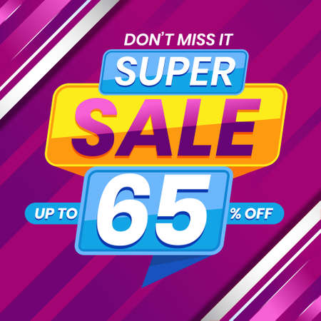 Vector graphic of Modern Colorful Super Sale 65 Percent Advertising Banner Background. Perfect for Retail, Brochure, Banner, Business, Selling, etc