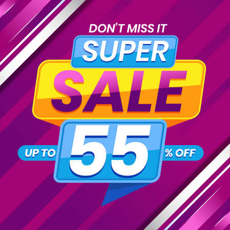 Vector graphic of Modern Colorful Super Sale 55 Percent Advertising Banner Background. Perfect for Retail, Brochure, Banner, Business, Selling, etc