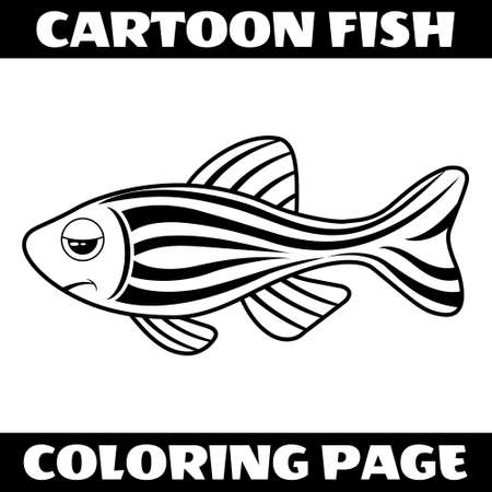 Illustration vector graphic of cartoon bored fish outline for coloring page.Perfect for children book illustrations, kids puzzle, kids game, coloring page, etc.