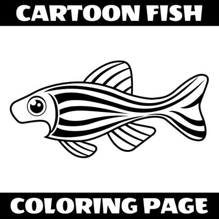 Illustration vector graphic of cartoon shocked fish outline for coloring page. Perfect for children book illustrations, kids puzzle, kids game, coloring page, etc.