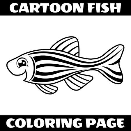 Illustration vector graphic of cartoon happy fish outline for coloring page. Perfect for children book illustrations, kids puzzle, kids game, coloring page, etc.