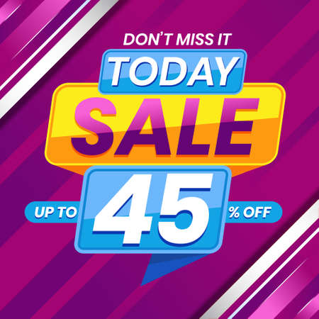 Vector graphic of Modern Colorful Today Sale 45 Percent Advertising Banner Background. Perfect for Retail, Brochure, Banner, Business, Selling, etc
