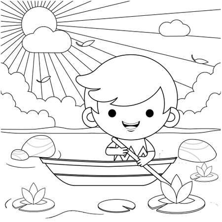Illustration vector graphic of coloring book for kids. Cartoon Cute Little Boy Riding On Boat At River. Good to use for children coloring book.