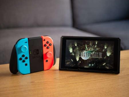 UK, March 2020: Nintendo switch final fantasy 7 VII game