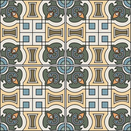 spanish tile: spanish tile vector on floral background