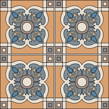 majolica: Seamless pattern illustration in traditional style - like Portuguese tiles