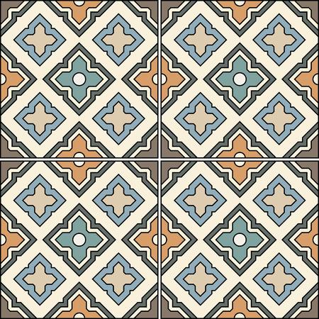 majolica: Beautiful seamless ornamental tile background vector illustration
