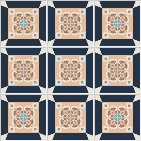 framed: Floor tiles - seamless vintage pattern with cement tiles. Seamless vector background. Vector illustration. One big tile in center is framed in small tiles.