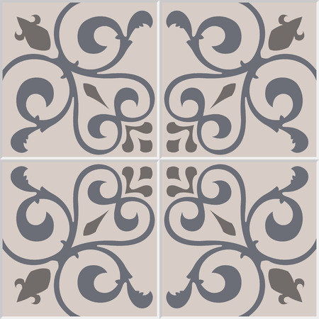 azulejos: Traditional ornate portuguese decorative tiles azulejos. Vintage pattern. Abstract background. Vector hand drawn illustration, eps10.