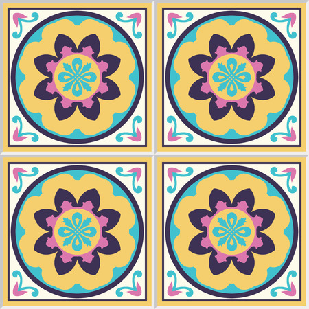 iberian: Spanish ceramic tiles with floral pattern. Illustration