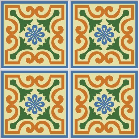 iberian: Beautiful seamless ornamental tile background vector illustration. Illustration