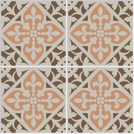 mosaic floor: Vintage ceramic mosaic floor tile seamless pattern, traditional ornate red floral design.