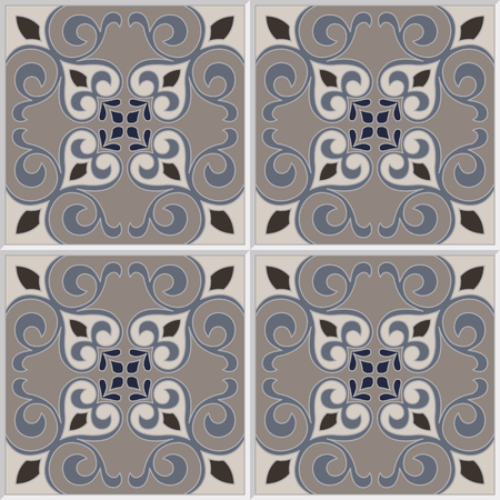 dutch tiles: Tile pattern vector seamless with flowers motifs. Azulejo, portuguese tiles, spanish, moroccan, turkish or arabic tiles design. Tiled print for wrapping, background or ceramic. Illustration