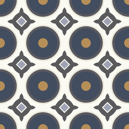blue circles: Seamless geometric pattern with blue circles. Illustration