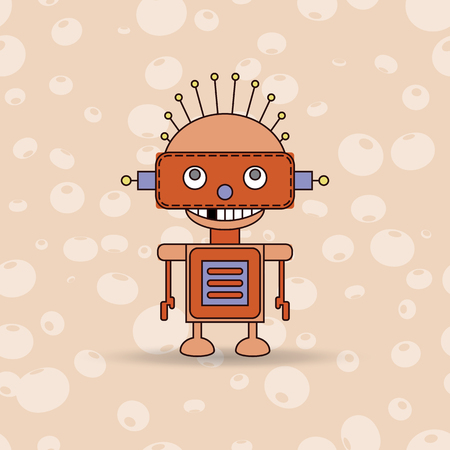 droid: Cartoon vector illustration of a happy little robot with green eyes Illustration
