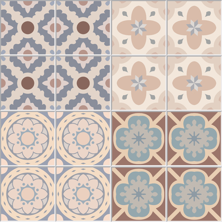 seamless tile: Set with Beautiful seamless ornamental tile background. Vector illustration.