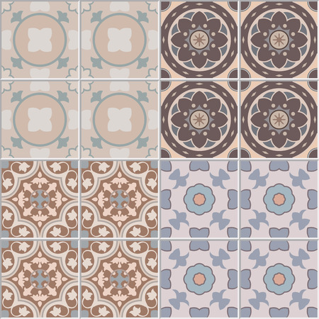 seamless tile: Set with seamless ornamental tile background. For pattern or textures. Illustration